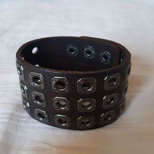 Wide Dark Brown Leather Bracelet